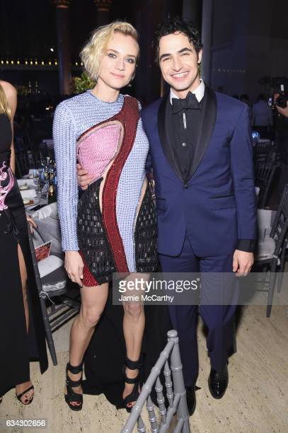 Actress Diane Kruger and fashion designer Zac Posen attends the 19th Annual amfAR New York Gala at Cipriani Wall Street on February 8 2017 in New...