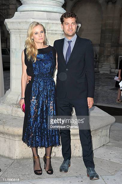 Actress Diane Kruger and Joshua Jackson attend the JaegerLecoultre Reverso 80th Anniversary at Les BeauxArts de Paris on June 28 2011 in Paris France