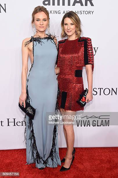 Actress Diane Kruger and Suite 1521 Co Founder Lizzie Tisch attend the 2016 amfAR New York Gala at Cipriani Wall Street on February 10 2016 in New...