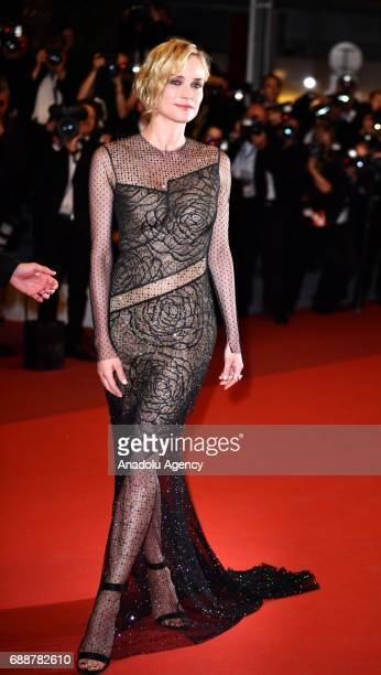 Actress Diane Kruger arrives for the premiere of the film Aus dem Nichts in competition at the 70th annual Cannes Film Festival in Cannes France on...