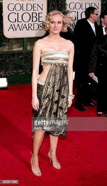 Actress Diane Kruger arrives to the 62nd Annual Golden Globe Awards at the Beverly Hilton Hotel on January 16, 2005 in Beverly Hills, California.