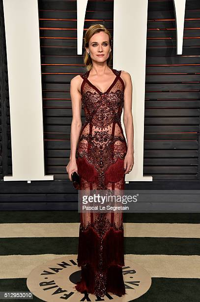 Actress Diane Kruger attends the 2016 Vanity Fair Oscar Party Hosted By Graydon Carter at the Wallis Annenberg Center for the Performing Arts on...