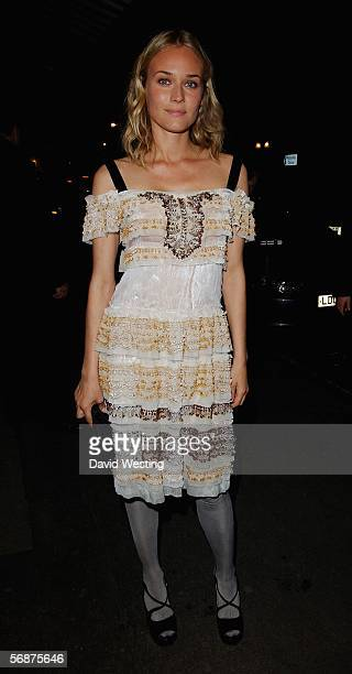Actress Diane Kruger attends the Alexandra Shulman's PreBAFTA Dinner hosted by British Vogue editor Alexandra Shulman Jimmy Choo owner Tamara Mellon...