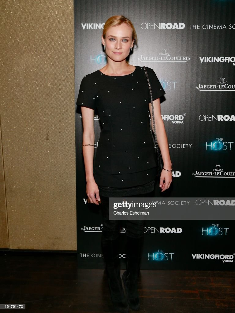 Actress Diane Kruger attends The Cinema Society & Jaeger-LeCoultre Host A Screening Of Open Road Films' 'The Host' at the Tribeca Grand Hotel - Screening Room on March 27, 2013 in New York City.
