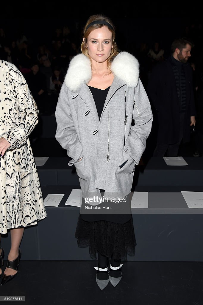 Actress Diane Kruger attends the Prabal Gurung Fall 2016 fashion show during New York Fashion Week: The Shows at The Arc, Skylight at Moynihan Station on February 14, 2016 in New York City.