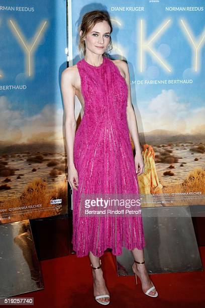 Actress Diane Kruger dressed in Hugo Boss attends the 'Sky' Paris Premiere at UGC Cine Cite des Halles on April 4 2016 in Paris France