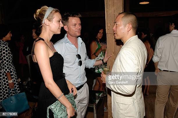 Actress Diane Kruger event cohost and designer Derek Lam and businessman JanHendrik Schlottmann attend Tods Baby Buggy Summer Luncheon on August 1...