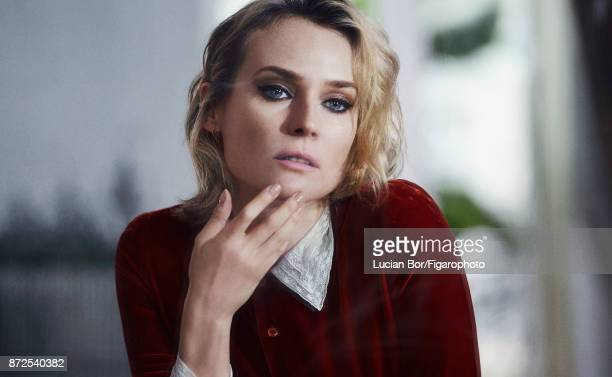 Actress Diane Kruger is photographed for Madame Figaro on September 7 2017 in Paris France Dress Dior earrings personal Makeup by Dior PUBLISHED...