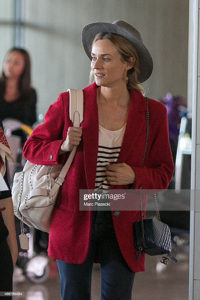 Actress Diane Kruger is seen at Charles-de-Gaulle airport on April 15, 2015 in Paris, France.