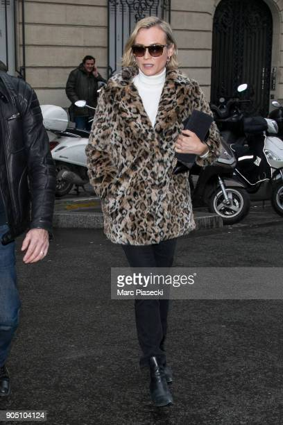 Actress Diane Kruger is seen leaving the 'Europe 1' radio station on January 15 2018 in Paris France