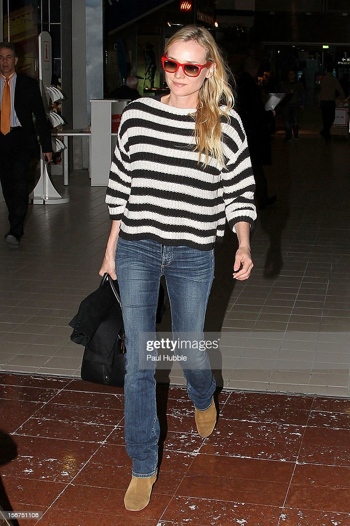 Actress Diane Kruger is sighted at aeroport de Roissy on November 20, 2012 in Paris, France.