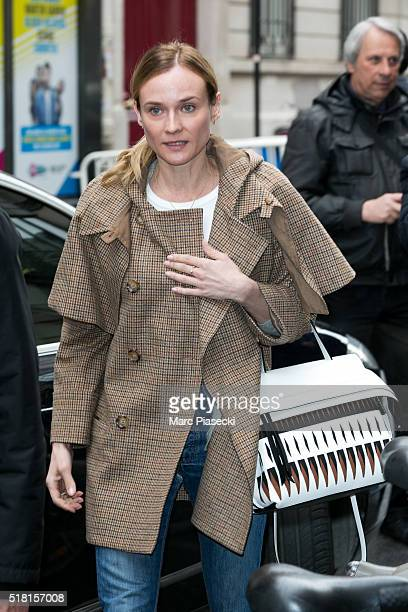 Actress Diane Kruger leaves 'RTL' radio station on March 30 2016 in Paris France