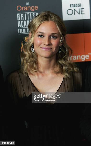 Actress Diane Kruger poses backstage in the Awards Room at The Orange British Academy Film Awards at the Odeon Leicester Square on February 19 2006...
