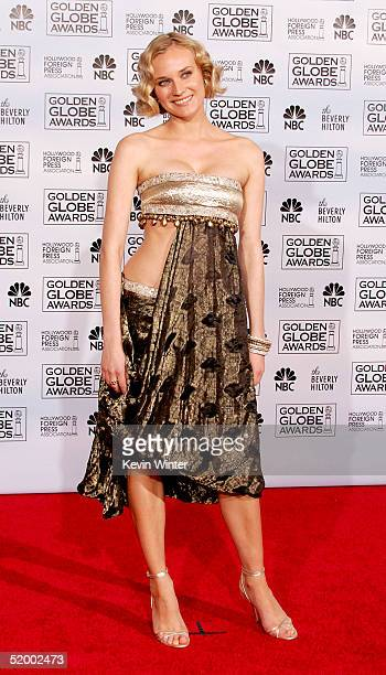 Actress Diane Kruger poses in the press room during the 62nd Annual Golden Globe Awards at the Beverly Hilton Hotel on January 16, 2005 in Beverly...