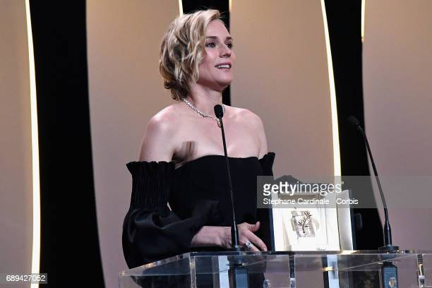 Actress Diane Kruger speaks on the stage after receiving the award for best actress for her part in the movie 'In The Fade' at the Closing Ceremony...