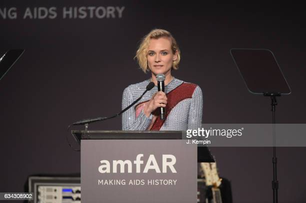 Actress Diane Kruger speaks onstage at the 19th Annual amfAR New York Gala at Cipriani Wall Street on February 8 2017 in New York City