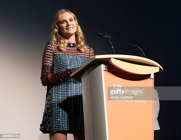 Actress Diane Kruger speaks onstage at the Disorder premiere during the 2015 Toronto International Film Festival at Roy Thomson Hall on September 17...