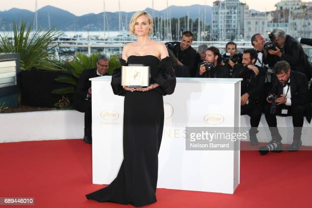 Actress Diane Kruger who won the award for best actress for her part in the movie In The Fade attends the Palme D'Or Winner Photocall during the 70th...