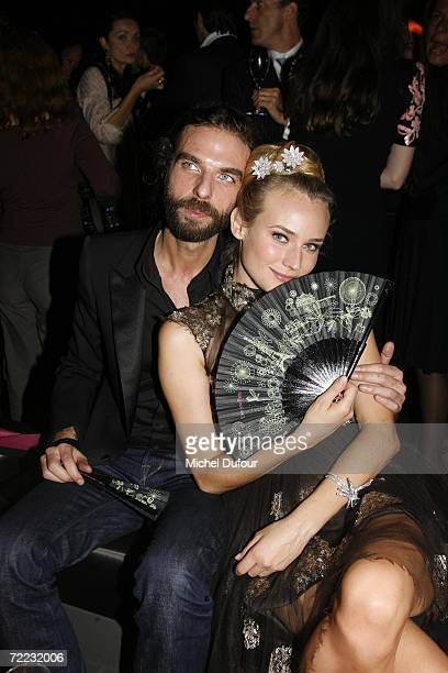 Actress Diane Kruger with hairdresser John Nollet attend the Van Cleef and Arpels party at the Tuileries Gardens October 20 2006 in Paris France The...