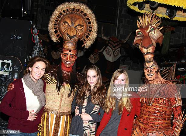 Actress Diane Lane actor Nathaniel Stampley daughter Eleanor Lambert stepdaughter Eden Adair Brolin and actor Derek Smith pose backstage at Disney's...