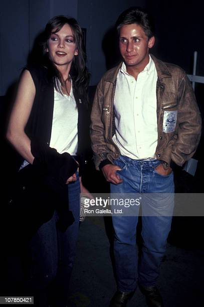 Actress Diane Lane and actor Emilio Estevez attend the premiere of 'Human Highway' on June 9 1983 at Mann Bruin Theater in Westwood California