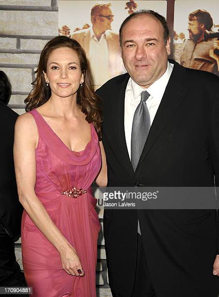 Actress Diane Lane and actor James Gandolfini attend the premiere of 'Cinema Verite' at Paramount Theater on the Paramount Studios lot on April 11...