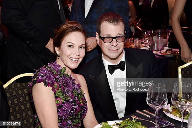 Actress Diane Lane and honoree John McNamara attend the 2016 Writers Guild Awards at the Hyatt Regency Century Plaza on February 13 2016 in Los...