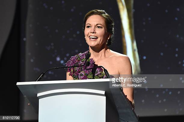 Actress Diane Lane speaks onstage during the 2016 Writers Guild Awards at the Hyatt Regency Century Plaza on February 13 2016 in Los Angeles...