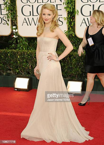 Actress Dianna Agron arrives at the 68th Annual Golden Globe Awards held at The Beverly Hilton hotel on January 16, 2011 in Beverly Hills, California.