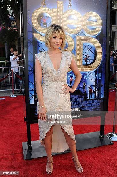 Actress Dianna Agron arrives at the premiere of Twentieth Century Fox's Glee The 3D Concert Movie held at the Regency Village Theater on August 6...
