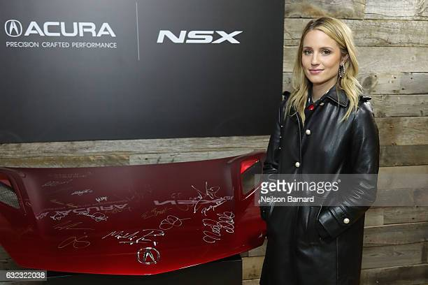 Actress Dianna Agron of 'Novitiate'' signs the hood of a 2017 Acura NSX at the Acura Studio during Sundance Film Festival 2017 on January 21, 2017 in...