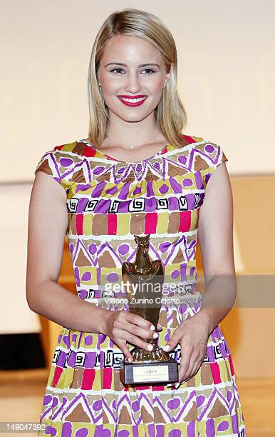 Actress Dianna Agron poses with the Giffoni Award during 2012 Giffoni Film Festival on July 22 2012 in Giffoni Valle Piana Italy