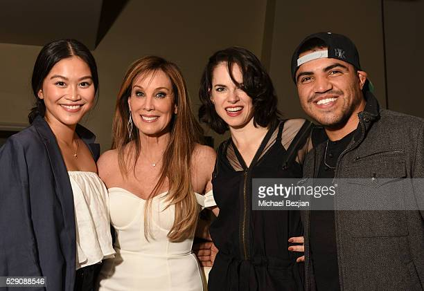 Actress Dianne Doan producer Cindy Cowan actress Amy Bailey and boxer Victor Ortiz pose for portrait at Cindy Cowan's Birthday Party on May 7 2016 in...