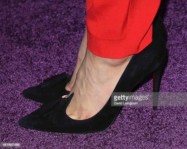 Actress Dianne Doan shoe detail attends the premiere of Disney's Descendants at Walt Disney Studios main theater on July 24 2015 in Burbank California