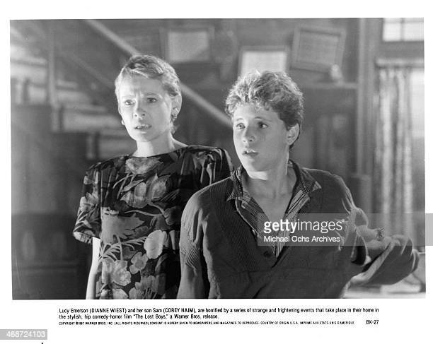 Actress Dianne Wiest and actor Corey Haim on set of the Warner Bros movie The Lost Boys circa 1987