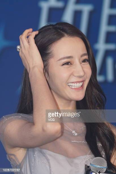 Actress Dilraba Dilmurat attends a Darlie press conference at HengDian Town on August 30 2018 in Jinhua Zhejiang Province of China