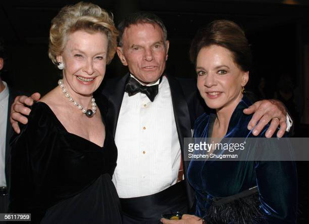 Actress Dina Merrill, RKO Chairman Ted Hartley and actress Stockard Channing attend The Museum of Television & Radio Annual Los Angeles Gala at the...