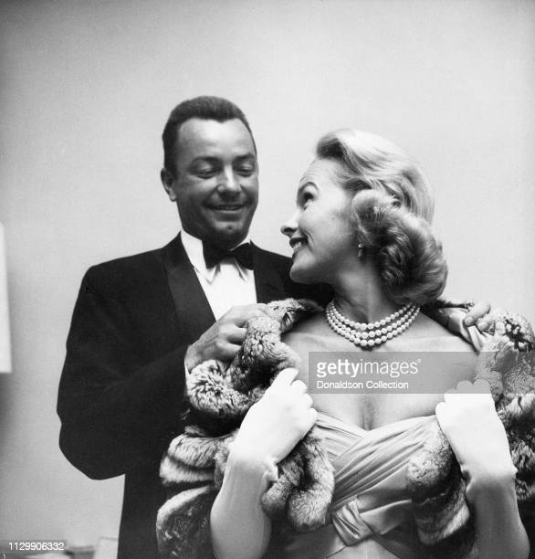 Actress Dina Merrill with her husband Stanley M Rumbough Jrattemd an event in 1958