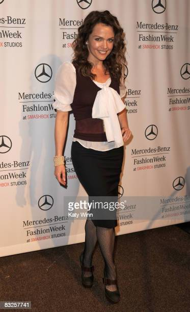 Actress Dina Meyer attends the Spring 2009 MercedesBenz Fashion Week held at Smashbox Studios on October 13 2008 in Culver City California