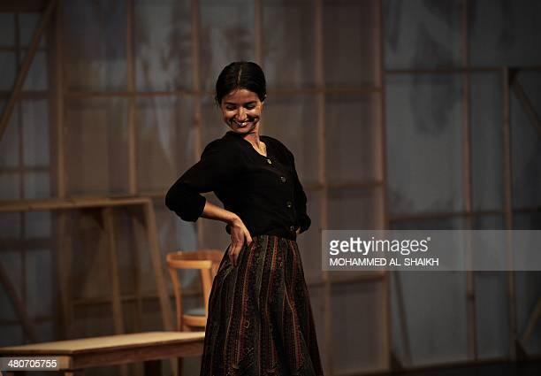 Actress Dina Mousawi performs in a play titled Rest Upon The Wind commemorating the life and times of legendary Lebanese poet and cultural icon...