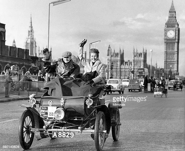 Actress Dinah Sheridan seen here crossing Westminister Bridge in the annual London to Brighton Veteran Car Run. November 1966 P008053