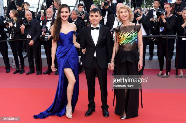 Actress Dinara Baktybaeva director Adilkhan Yerzhanov and guest of 'The Gentle Indifference Of The Word' attend the screening of 'Capharnaum' during...