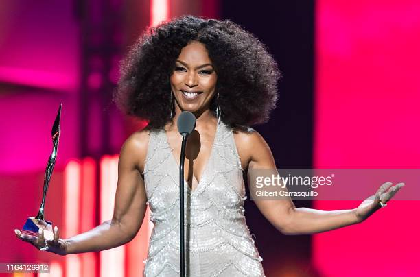 Actress, director, and producer Angela Bassett and Icon Award recipient speaks on stage during the 2019 Black Girls Rock! at NJ Performing Arts...