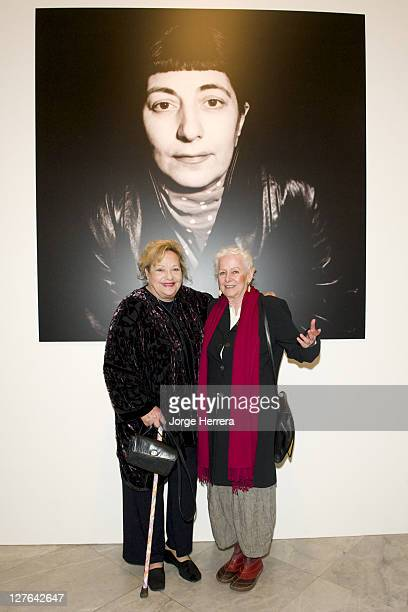 Actress director and producer Sylvia Syms and writer and actress Hanja Kochansky during the private view of 'Ida Kar Bohemian Photographer 195268' at...