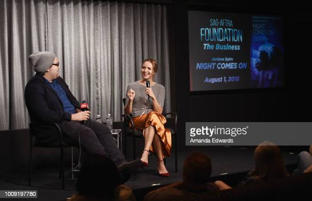 Actress director and writer Jordana Spiro and moderator Carlos Aguilar attend the SAGAFTRA Foundation's The Business Screening of 'Night Comes On' at...