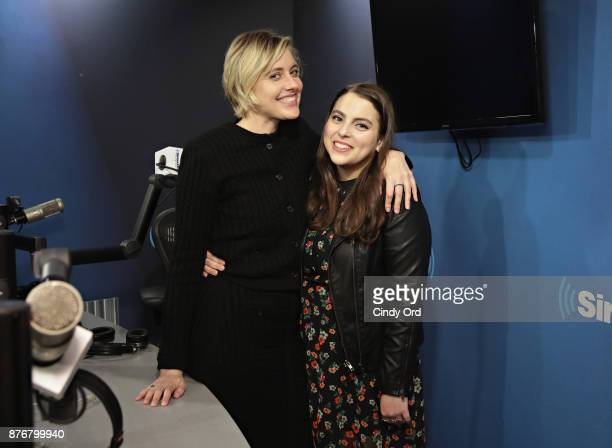 Actress/ director Greta Gerwig and actress Beanie Feldstein visit the SiriusXM Studios on November 20 2017 in New York City