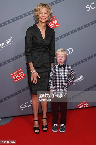Actress director Meg Ryan and actor Spencer Howell attend the red carpet prior to Meg Ryan Lifetime Award Presentation and 'Ithaca' screening during...