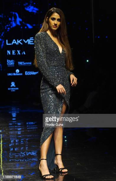 Actress Disha Patani walks the runway wearing designer Rohit Gandhi and Rahul Khanna at Lakme Fashion Week winter collection 2019 at St Regis Hotel...