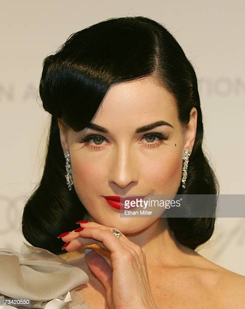 Actress Dita Von Teese arrives at the 15th Annual Elton John AIDS Foundation Academy Awards viewing party held at the Pacific Design Center on...