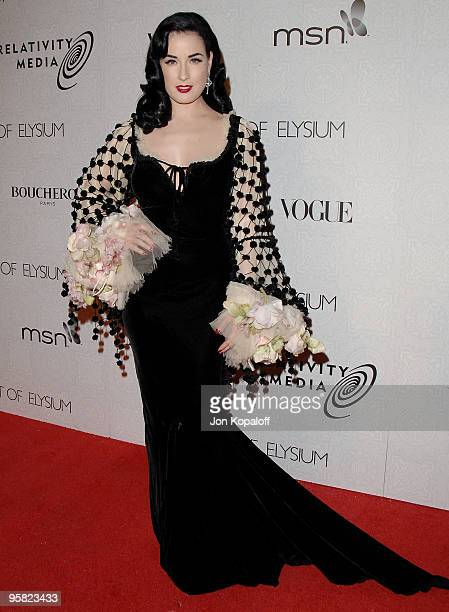 Actress Dita Von Teese arrives at The Art of Elysium's 3rd Annual BlackTie Charity Gala 'Heaven' at 9900 Wilshire Blvd on January 16 2010 in Beverly...
